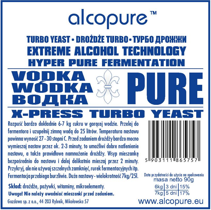 Drożdże Turbo - Vodka Pure
